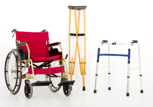 cane, crutches and wheelchair